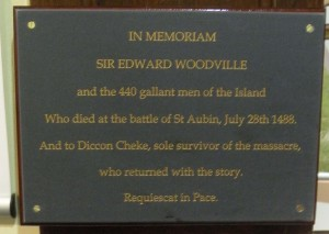 "Plaque on Isle of Wight commemorating Edward Woodville. Photograph courtesy of author Dorothy Davies""? Thanks!"